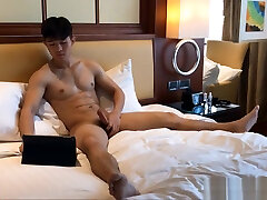 Handsome Asian oiled tits Twink