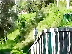 Bound babe interracial fucked outdoors