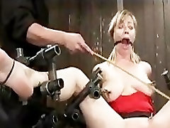 Bound blonde Adrianna gets pussy vibrated