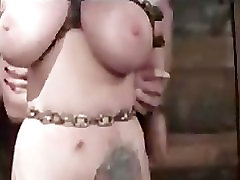Huge boobed bound babe whipped and toyed
