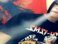 Sexy Goth teen smoking