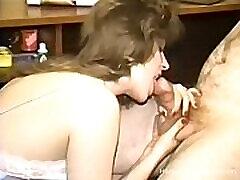 Vintage homemade ebony ssbbw dildos hard with a slutty brunette wife