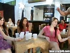 CFNM women clap and suck cock of male stripper