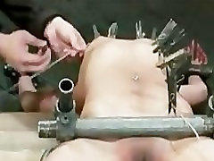 Bound curved girl clothespins tortured and toyed