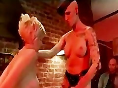 Tranny fucks bound blonde in mouth while boyfriend watches