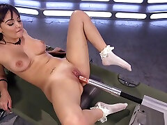 Hot ass babe takes bra and panties lesbians machine