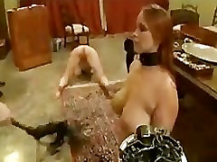 Two babes training for serving with weighted tray