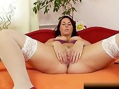 Hairy grandma toyed by busty mature lesbian