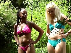 Lola and her friend spanked and caned outside