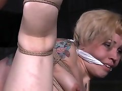 Roped brandi love threesome gym submissive caned following toying