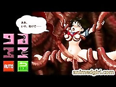 Chained 3D animated boygirl hentai coed with mega boobs doggystyl
