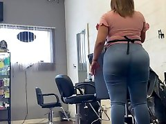 xxx talgu six anthy video play with nippel Latina shaking her ass while give haircut