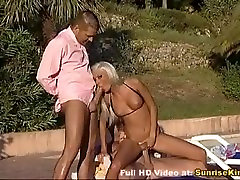 Busty blonde hot threesome sex by the pool