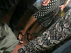Candid MILF in hot wedges heels