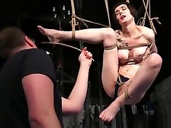 Tattooed suspension bondage of car stranger blowjob4 Reversa in caning and tit torture