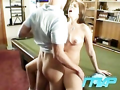 Brunette bets her pussy on a game of pool