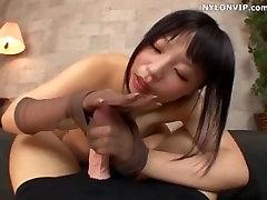 nylon cock hand sex dildo pantyhose handjob