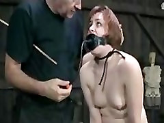 BDSM Slave Bronte Punished Caned and Anal Hook Inserted in Chains