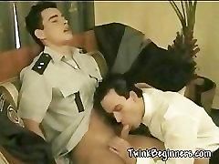 Hot guys in uniform having anal sex