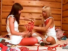 Lesbian fun in an old cottage