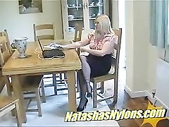 English MILF In Silk Stockings Gives Footjob Making Cock Shoot It
