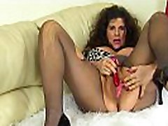 English milf Gilly pleases her russian mommy ninette knockers and fine fanny