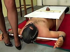 B&M-Slave-training....CBT torture. Nylon foot job.