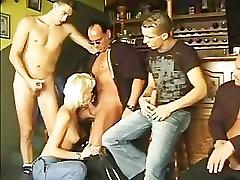 blond gang banged in a bar