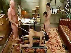 Bound babe on her all four caned and gangbanged
