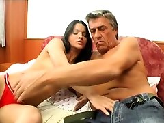 Teen girl gets her unshaved pussy gangbanged by old dude