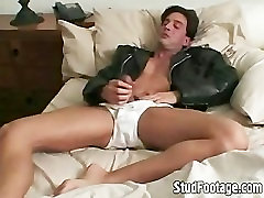 Horny biker massage palor tube guy strokes his cock