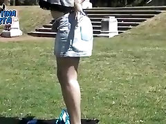 Round Ass Stretching at the park. Tight Leggins. Big Boobs