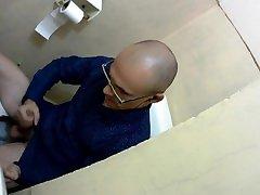 office toilettte work. Cumshot