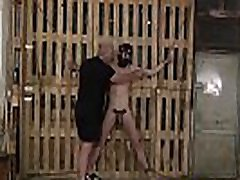 Restrained sub tortured with clothespins by mature master