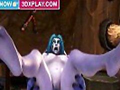 World of Warcraft NElf x Troll Hard Fuck Big hot 2 man Animated Sound