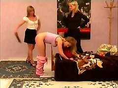 Teen spanked,strapped&caned on her barebottom for being a brat