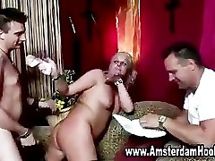 Mature slut in stockings gets a cumshot