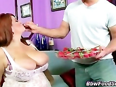 Fat bbw girl with big tits fed strawberries