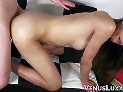 Classy Asian tbabe climaxes while riding big hard cock
