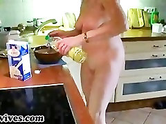 Sexy drunk wife first threesome wife preparing some food naked