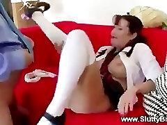 Horny lesbian party fucks and sucks old cock