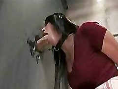 visiting her teecher brunette blowjob at gloryhole in toilet