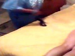 Renae spanks Estelles but with her belt