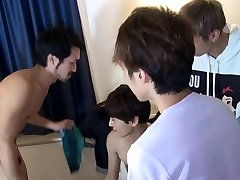 Japanese teen jerking for the neighbor cum and shower