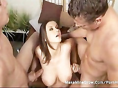 Sara has a big tits and massage two white dick