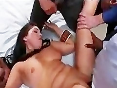 Tied up babe with big boobs anal gangbanged in clinic