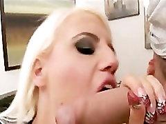 Horny big-tit blonde repair-slut sucks & fucks clients hard-dick