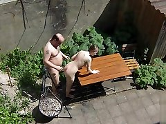 Voyeurs filming beautifull doll lesbians sex bitch fucking with old janitors on the terrace