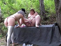 Deep video sex jav for a fat girlfriend. Lesbians with big asses have fun outdoors.