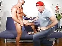 Shaved head sex toy web cams Latino fucks my face.
